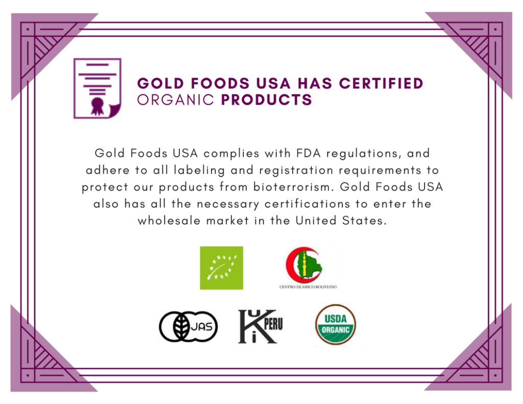 Gold Foods USA Certifications